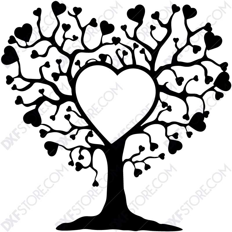 Heart Tree DXF File DXF file for Plasma Cutting