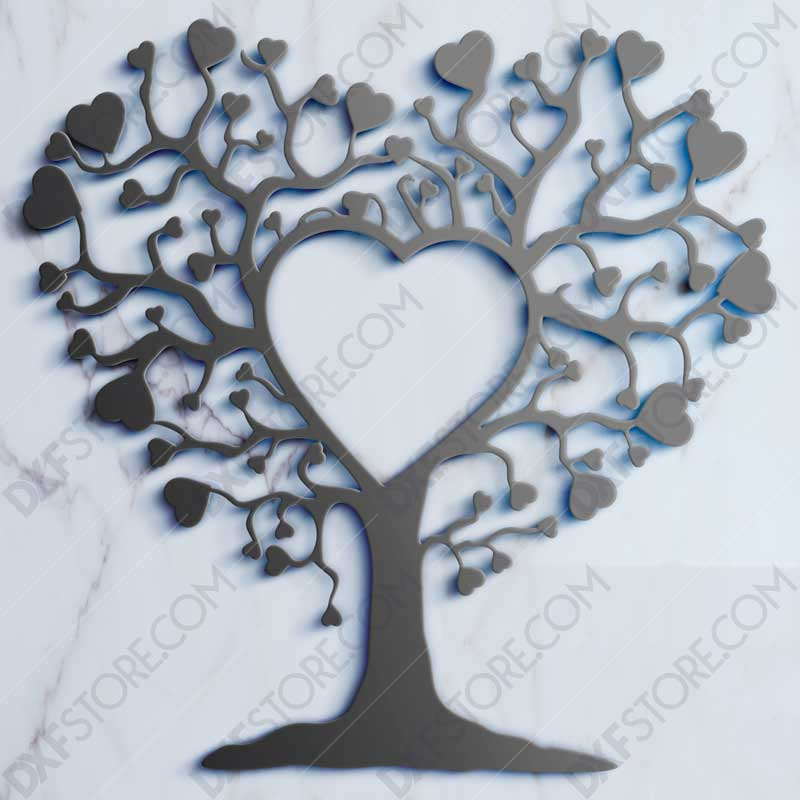 Heart Tree DXF File For Waterjet CNC Cutting