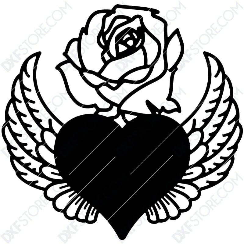 Heart With Wings And Flower Dxf File Cut Ready For Cnc Laser Plasma Dxfstore Com Free Downloadable Dxf Files Ready To Cut