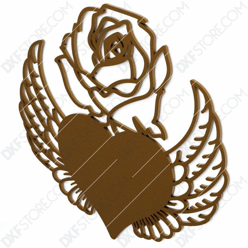 Heart With Wings and Flower DXF File SVG File Cut-Ready for CNC Laser Cut