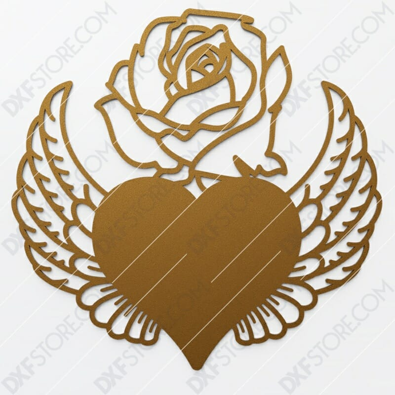 Heart With Wings and Flower DXF File SVG File Cut-Ready for CNC Plasma and Laser Cut