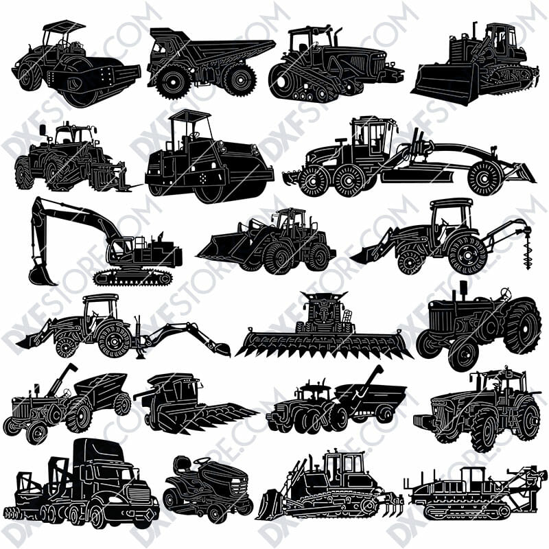 Heavy Duty Construction and Agricultural Machinery DXF SVG Downloadable Files For Sale