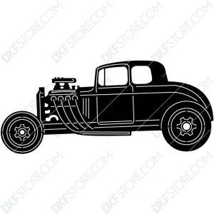 Hot Rod Car Old Classic Hot Rod Car DXF File Cut-Ready for CNC Plasma Cut