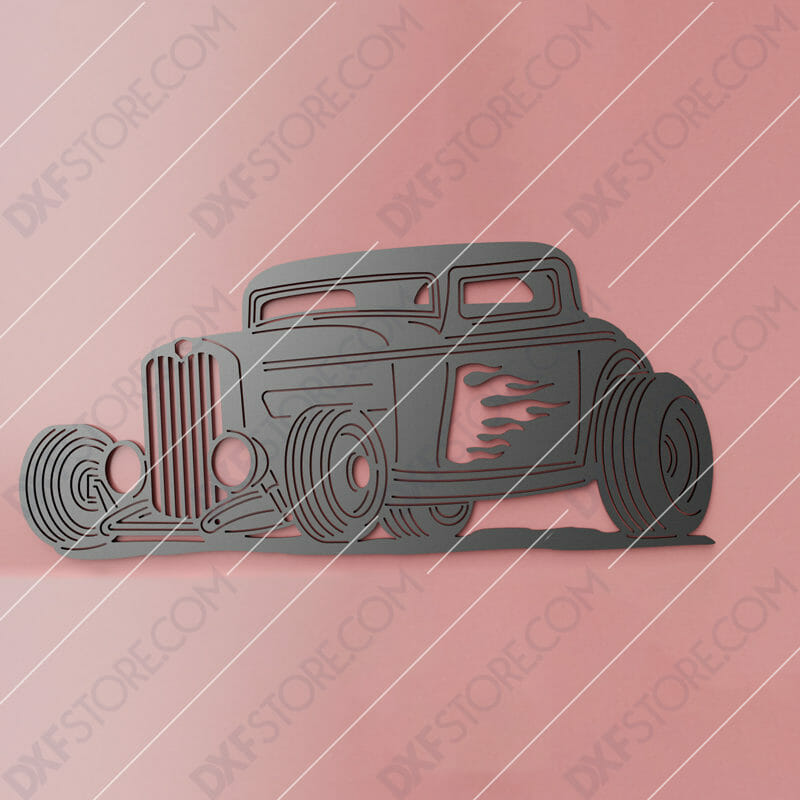 Hot Rod With Flames Classic Car 1932 Ford Coupe Cut-Ready DXF File SVG File for CNC Plasma Cut