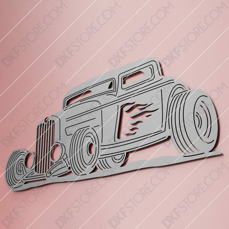 Hot Rod With Flames Classic Car 1932 Ford Coupe Cut-Ready DXF File SVG File for CNC Plasma and Laser Cut
