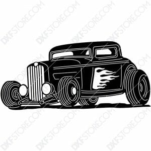 Hot Rod With Flames Classic Car 1932 Ford Coupe Cut-Ready DXF File for CNC Laser Cut