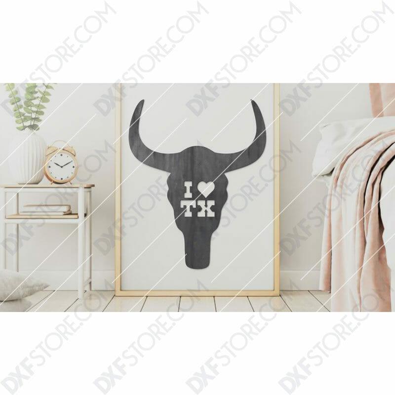 I Love Texas Buffalo Skull Plasma Art Metal Sign Plasma and Laser Cutter DXF File
