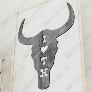 I Love Texas Buffalo Skull Plasma and Laser Cut for CNC Laser and Plasma Cutter