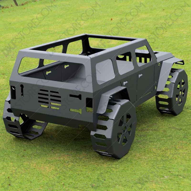 Jeep Fire pit Complete Car Fire pit 50X29X23 in Cut-Ready CNC Plasma DXF Files