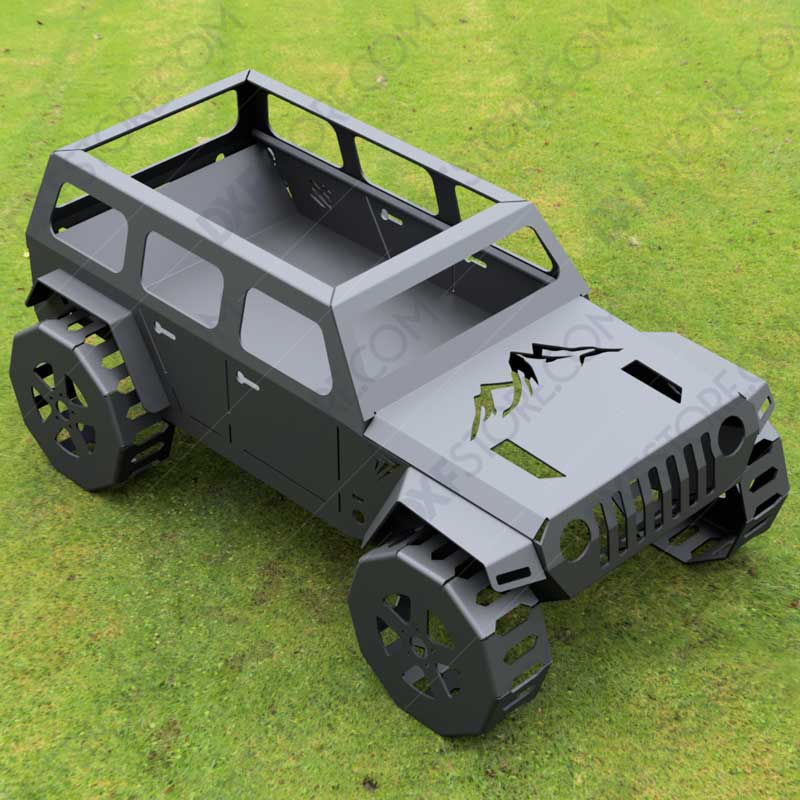 Jeep Fire pit Complete Car Fire pit 50X29X23 in DXF File DXF file for Plasma