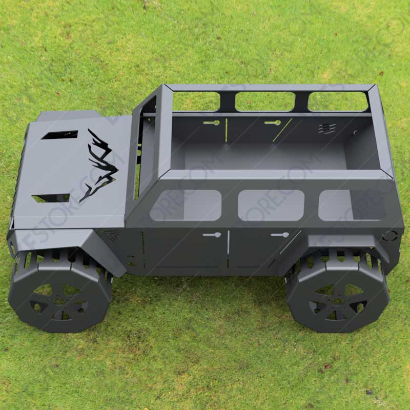 Jeep Fire pit Complete Car Fire pit 50X29X23 in DXF File Plasma Cut and Laser Cut DXF Download