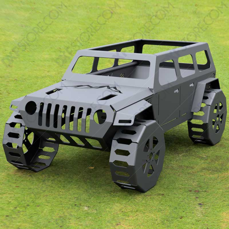 Jeep Fire pit Complete Car Fire pit 50X29X23 in DXF Files For Plasma and Waterjet
