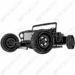 Jeep Hot Rod Car Plasma Art for CNC Plasma Cut Cut-Ready DXF File for CNC