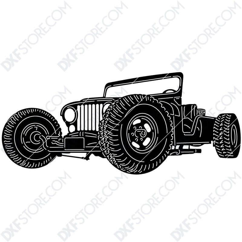 Jeep Hot Rod Car Plasma Art for CNC Plasma Cut Cut-Ready DXF File for CNC
