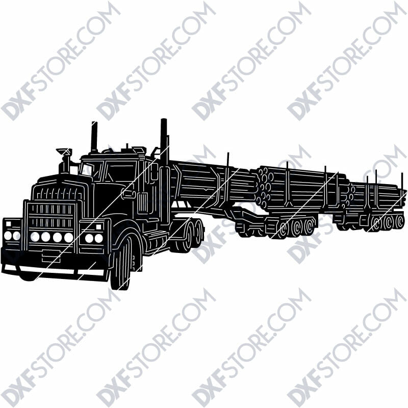 Kenworth 909 Truck with a set of log trailers Custom Order Cut-Ready Plasma Cut DXF File Download for CNC