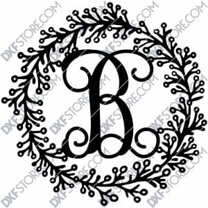 Leafy Decorative front door sign last name Monogram Wall Decor Letter Door Sign Hanger DXF SVG File