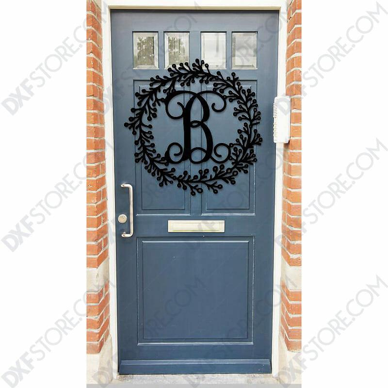 Leafy Decorative front door sign last name Monogram Wall Decor Letter Door Sign Hanger DXF SVG File Laser Cut