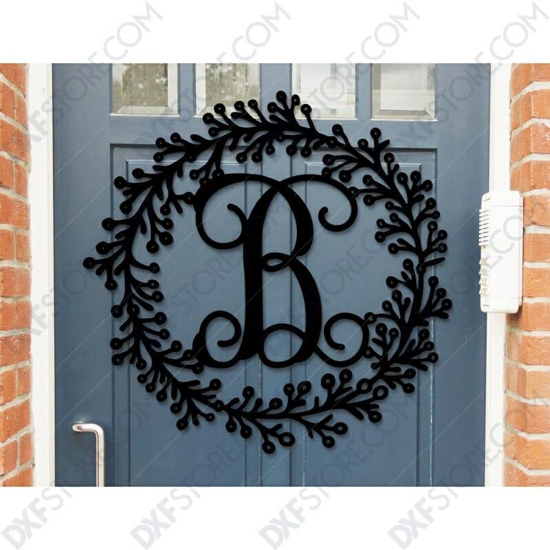 Leafy Decorative front door sign last name Monogram Wall Decor Letter Door Sign Hanger DXF SVG Laser Cut for CNC