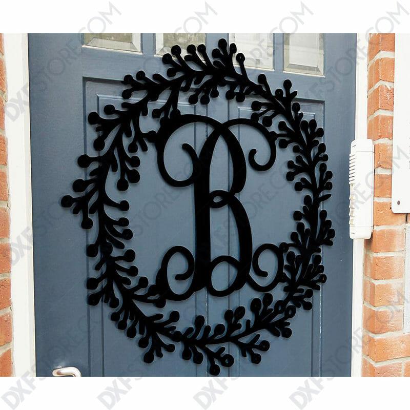 Leafy Decorative front door sign last name Monogram Wall Decor Letter Door Sign Hanger side CNC SVG Plasma Cut