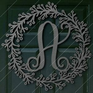 Leafy Metal Initial Sign Metal Monogram Sign DXF File for CNC Plasma Cut and Laser Cut and Waterjet