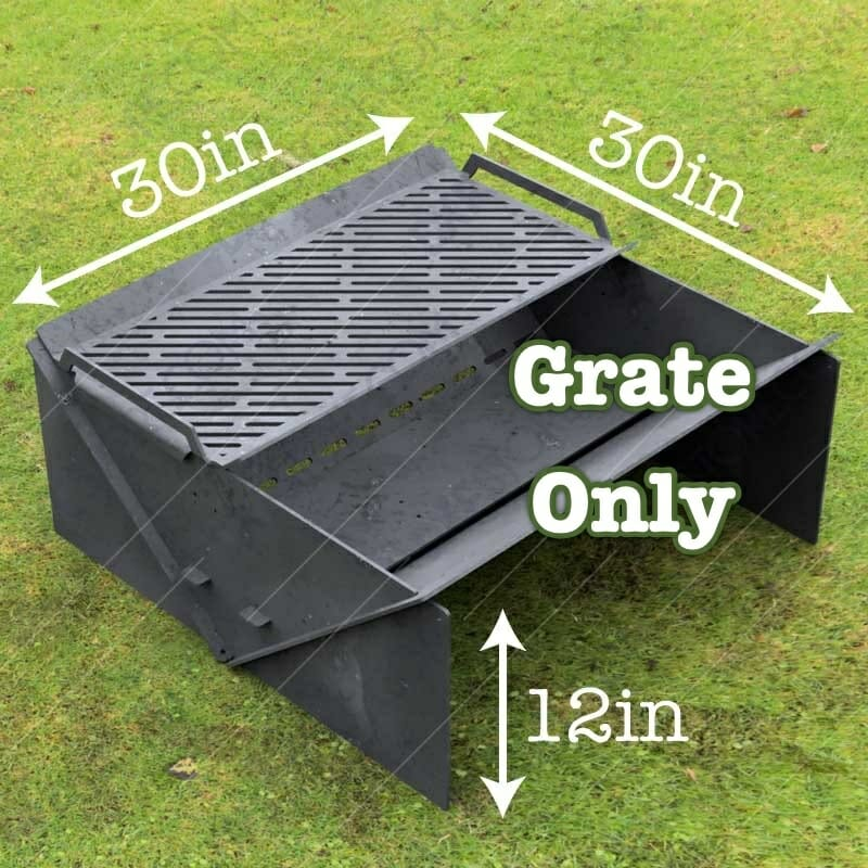 """Minimal Collapsible Fire Pit With Custom Modern Grate Custom Order Fire Pit 30""""X30X12 For Laser Cutting"""