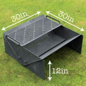 "Minimal Collapsible Fire Pit With Custom Modern Grate Custom Order Fire Pit 30""X30X12 For Laser Cutting"