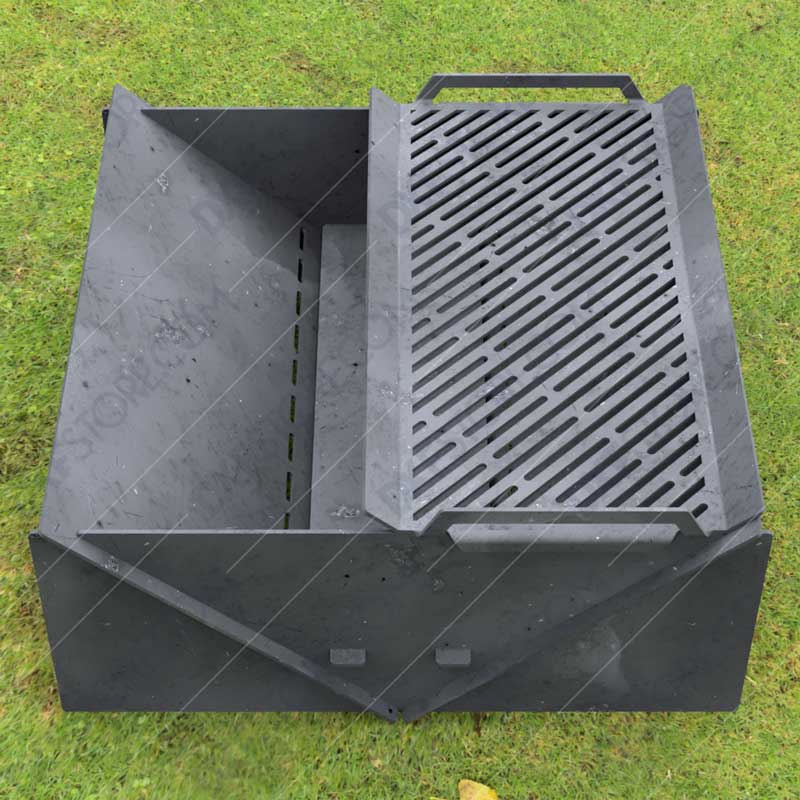 """Minimal Collapsible Fire Pit With Custom Modern Grate Custom Order Fire Pit 30""""X30X12 for Plasma Cutting"""