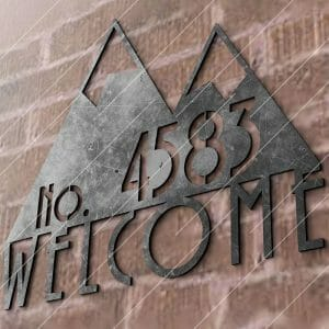 Modern House Sign Plaque Door Street Number Cut-Ready Plasma Cut DXF File Download for CNC Plasma and Laser Cut