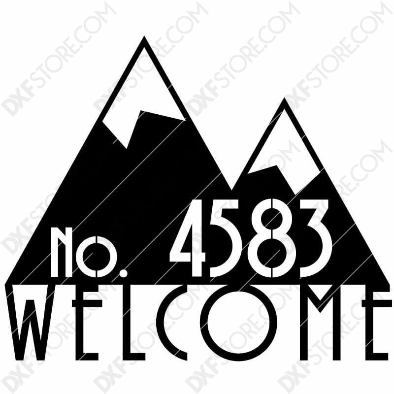 Modern House Sign Plaque Door Street Number Plasma Art for CNC Plasma Cut Cut-Ready DXF File for CNC