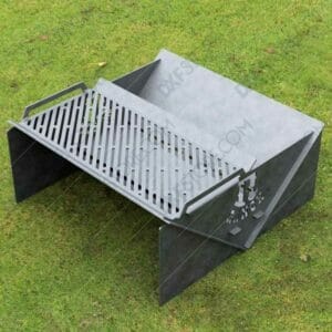 Modern fire pit Collapsible Minimal with Custom Logo R-Ranch and Grate No Welding Needed 30X30X12 For CNC Plasma Cutter