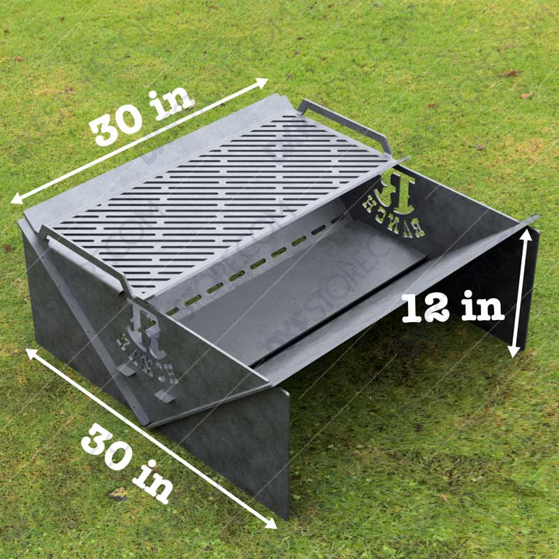 Modern fire pit Collapsible Minimal with Custom Logo R-Ranch and Grate No Welding Needed 30X30X12 For Laser Cutting