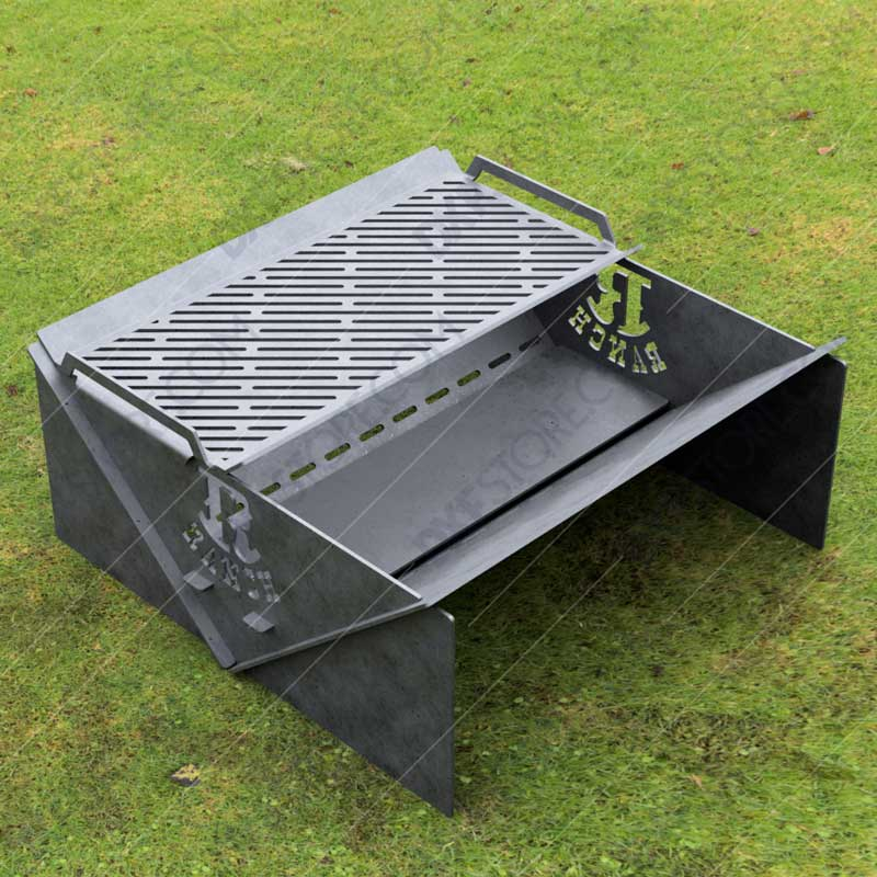 Modern fire pit Collapsible Minimal with Custom Logo R-Ranch and Grate No Welding Needed 30X30X12 For Waterjet CNC Cutting