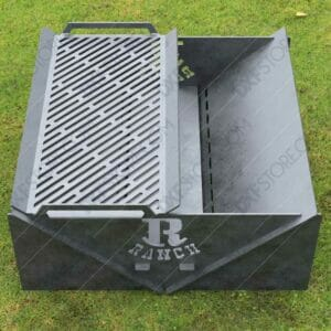 Modern fire pit Collapsible Minimal with Custom Logo R-Ranch and Grate No Welding Needed 30X30X12 for Plasma Cutting