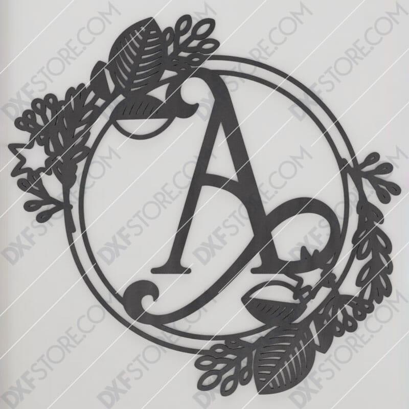 Monogram Plaque Letter A Decorative Floral Frame DXF File Cut-Ready for CNC