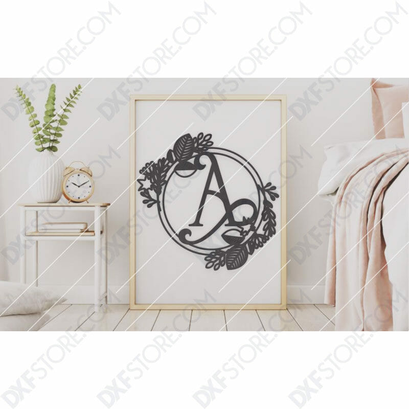 Monogram Plaque Letter A Decorative Floral Frame DXF File for CNC Plasma and Laser Cut