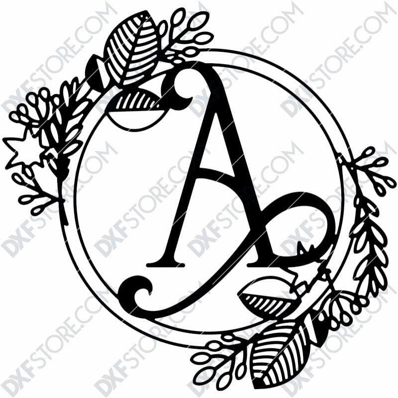 Monogram Plaque Letter A Decorative Floral Frame SVG File for CNC Plasma Cut