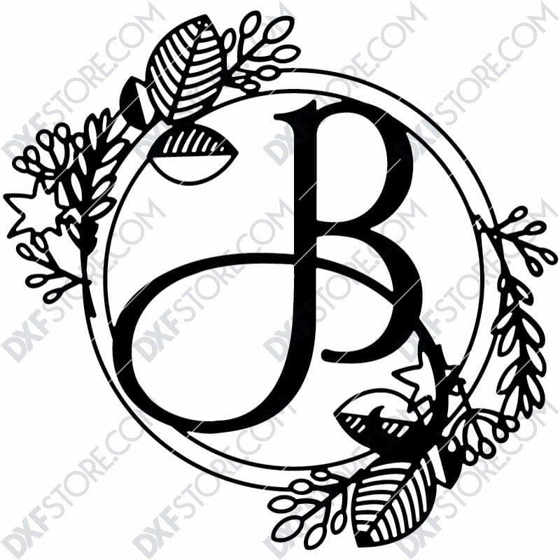 Monogram Plaque Letter B Decorative Floral Frame DXF File for CNC Plasma and Laser Cut