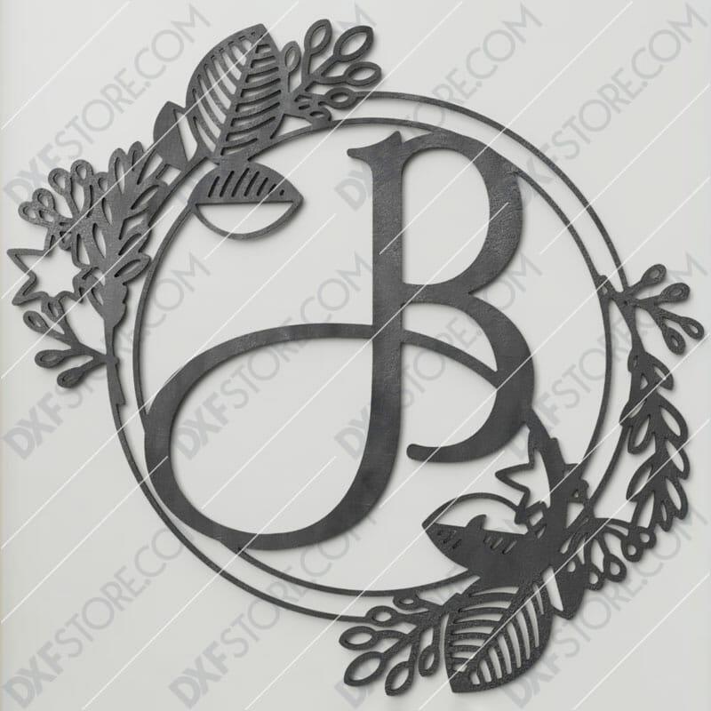 Monogram Plaque Letter B Decorative Floral Frame SVG File Plasma and Laser Cut