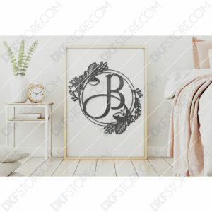 Monogram Plaque Letter B Decorative Floral Frame SVG File for CNC Plasma Cut