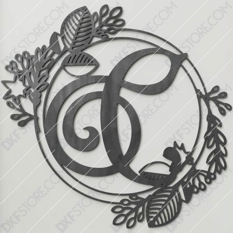 Monogram Plaque Letter C Decorative Floral Frame SVG File for CNC Plasma Cut