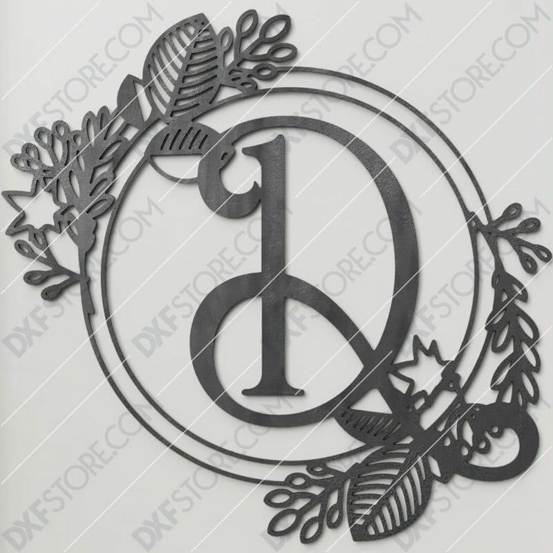 Monogram Plaque Letter D Decorative Floral Frame DXF File Cut-Ready for CNC