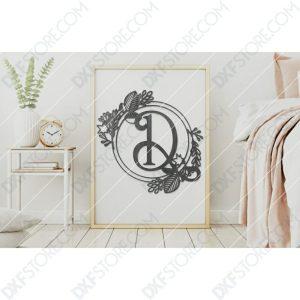 Monogram Plaque Letter D Decorative Floral Frame DXF File for CNC Plasma and Laser Cut