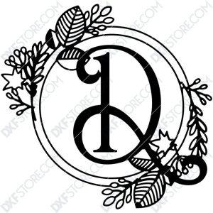 Monogram Plaque Letter D Decorative Floral Frame SVG File for CNC Plasma Cut