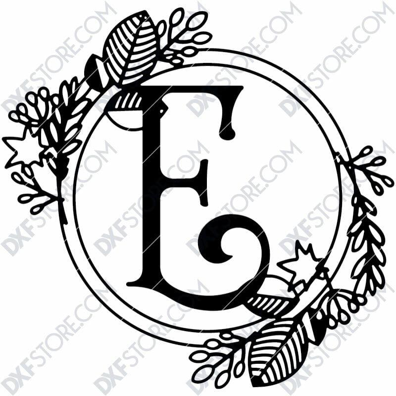 Monogram Plaque Letter E Decorative Floral Frame DXF File Cut-Ready for CNC