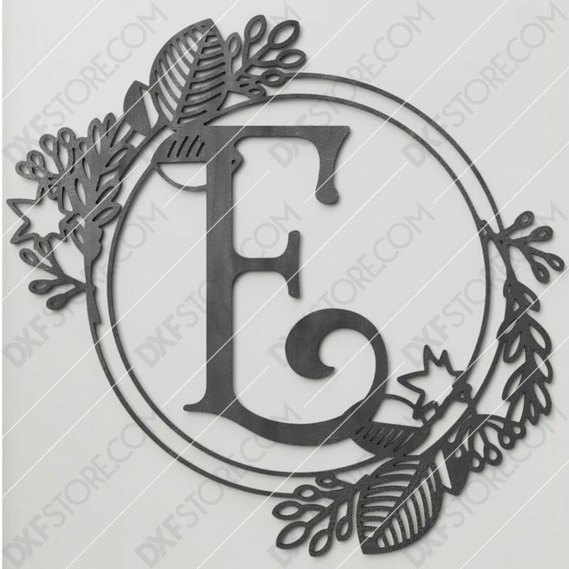 Monogram Plaque Letter E Decorative Floral Frame DXF File for CNC Plasma and Laser Cut