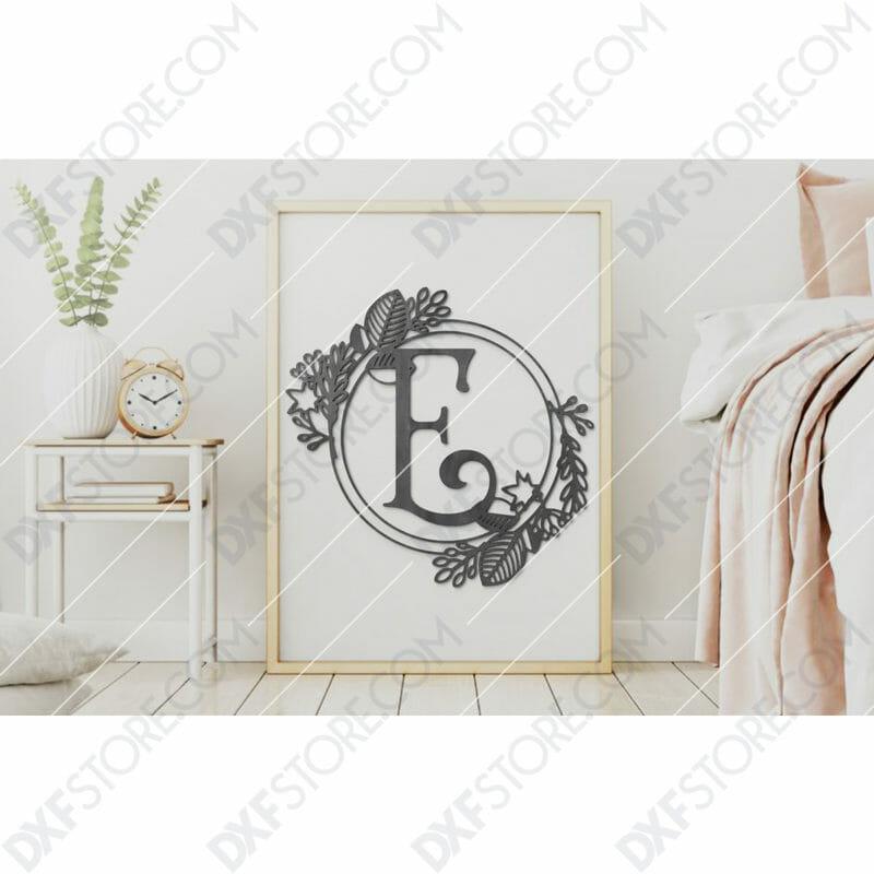 Monogram Plaque Letter E Decorative Floral Frame SVG File for CNC Plasma Cut