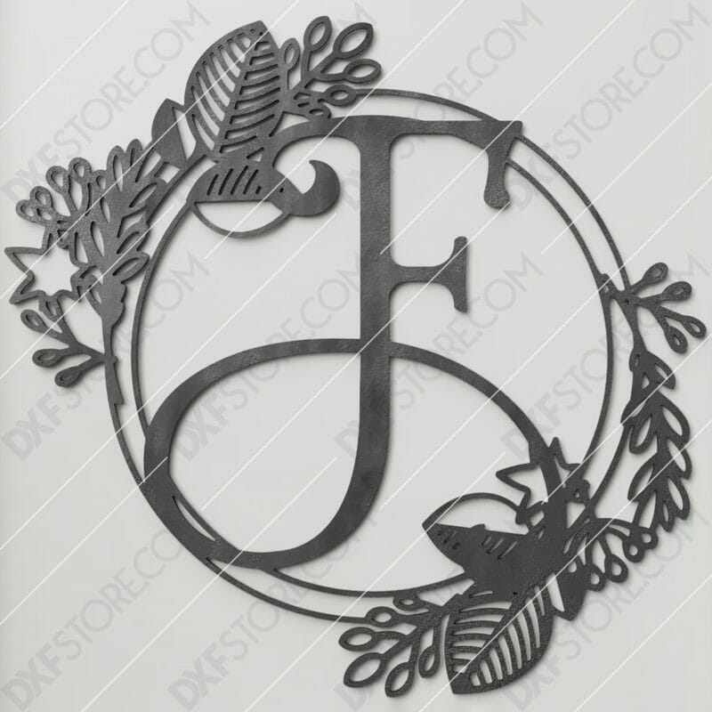 Monogram Plaque Letter F Decorative Floral Frame SVG File for CNC Plasma Cut