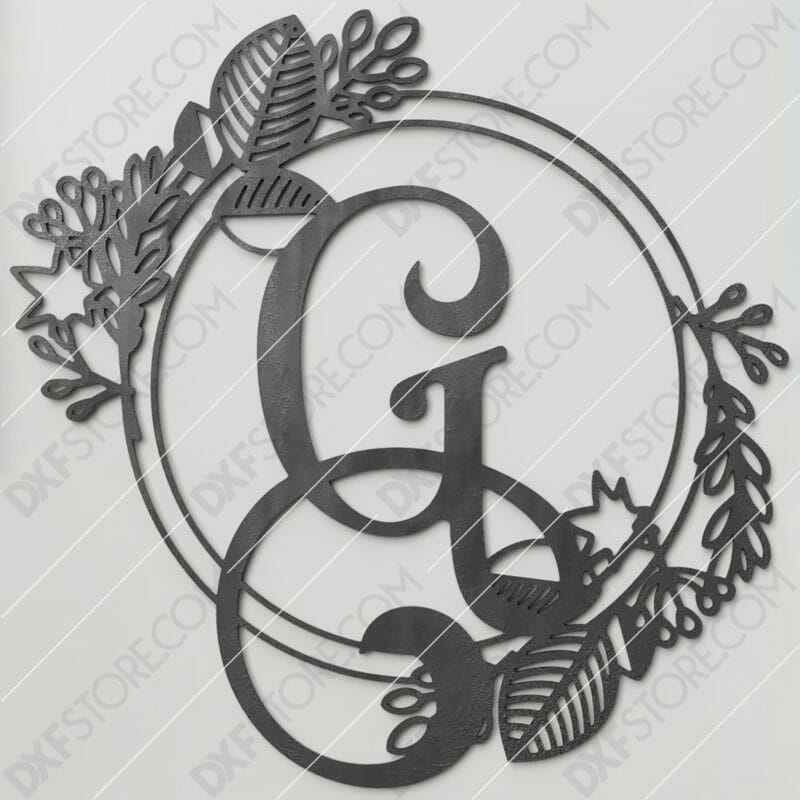 Monogram Plaque Letter G Decorative Floral Frame DXF File for CNC Plasma and Laser Cut
