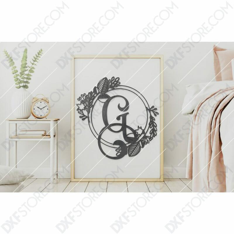 Monogram Plaque Letter G Decorative Floral Frame SVG File for CNC Plasma Cut