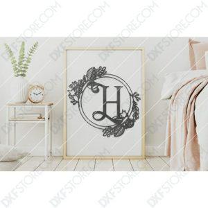 Monogram Plaque Letter H Decorative Floral Frame DXF File for CNC Plasma and Laser Cut